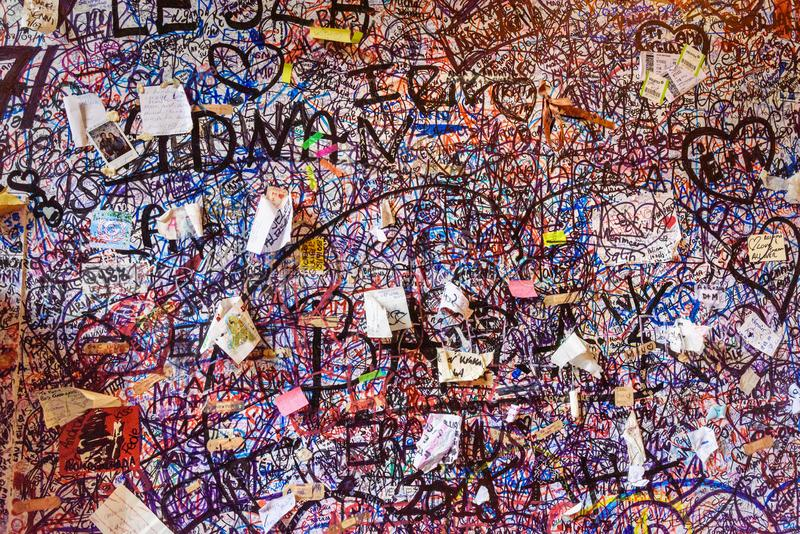 Part of wall full covered with love messages in Juliet house or Casa di Giulietta. Verona. Italy royalty free stock photography