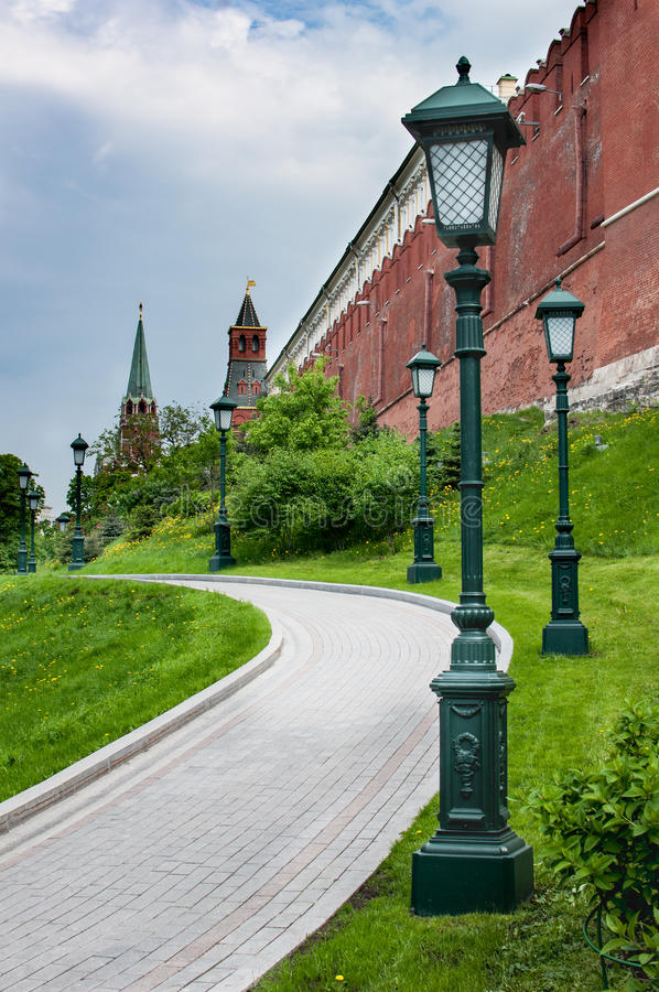 Part of a wall and towers of the Moscow Kremlin stock photos