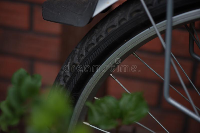 Part of a wheel from a bicycle royalty free stock image