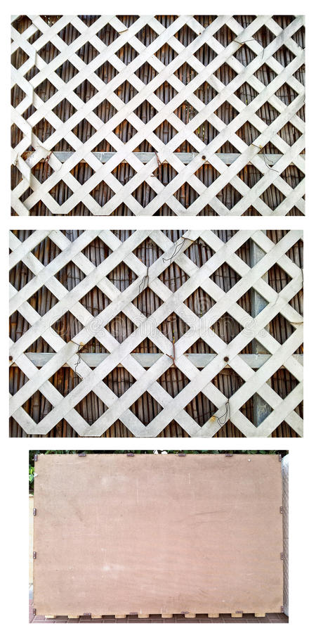Part of white vinyl diagonal lattice fence. There is a part of white vinyl diagonal lattice fence might be used as texture or background royalty free stock image