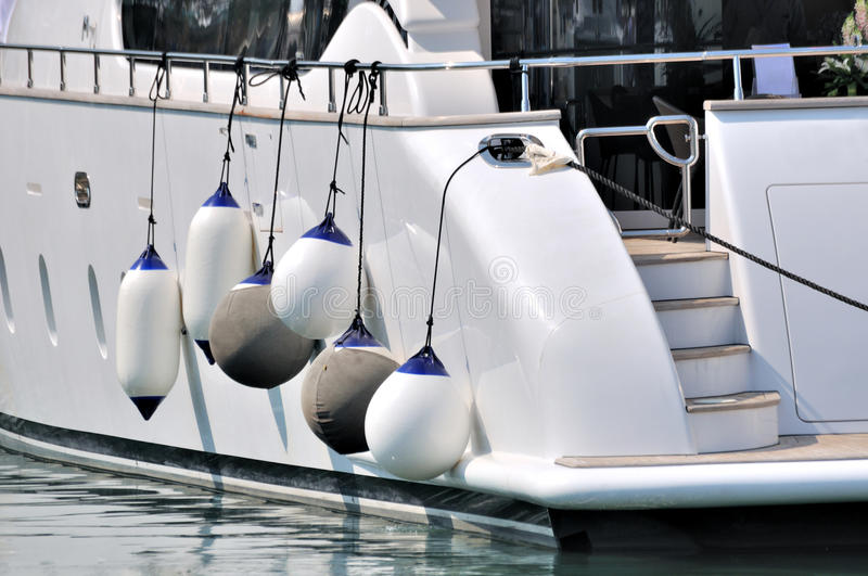 Part of white yacht in big size stock photography