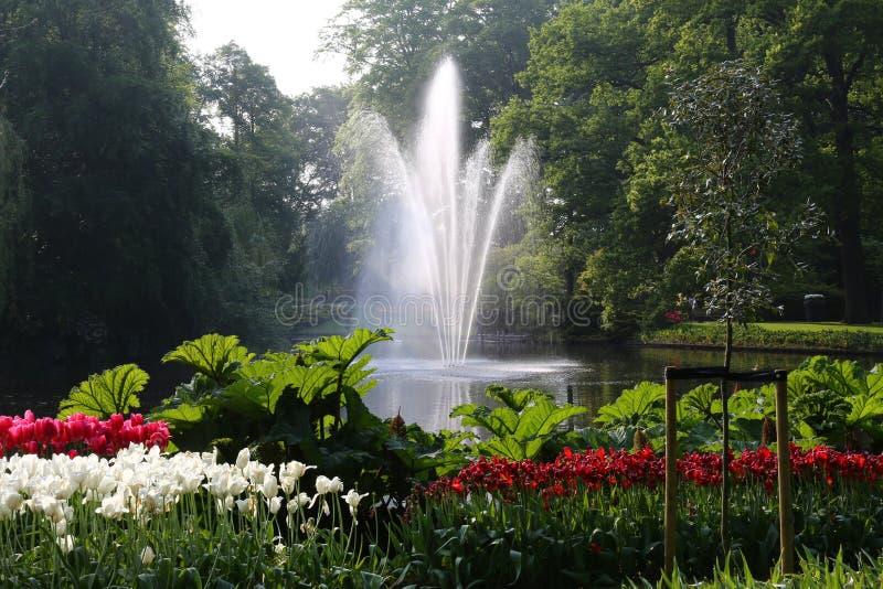 Central fountain, Keukenhof,  the Netherlands royalty free stock photo