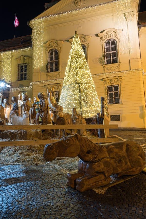 Part of wooden nativity scene, Brno, Czech Rebublic. Europe stock images