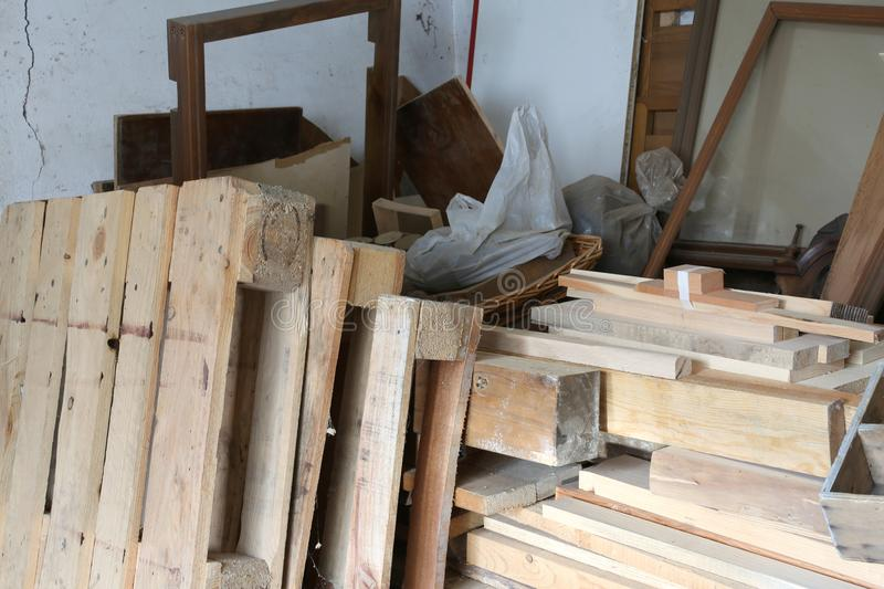 Part of a workshop of a carpenter stock photo