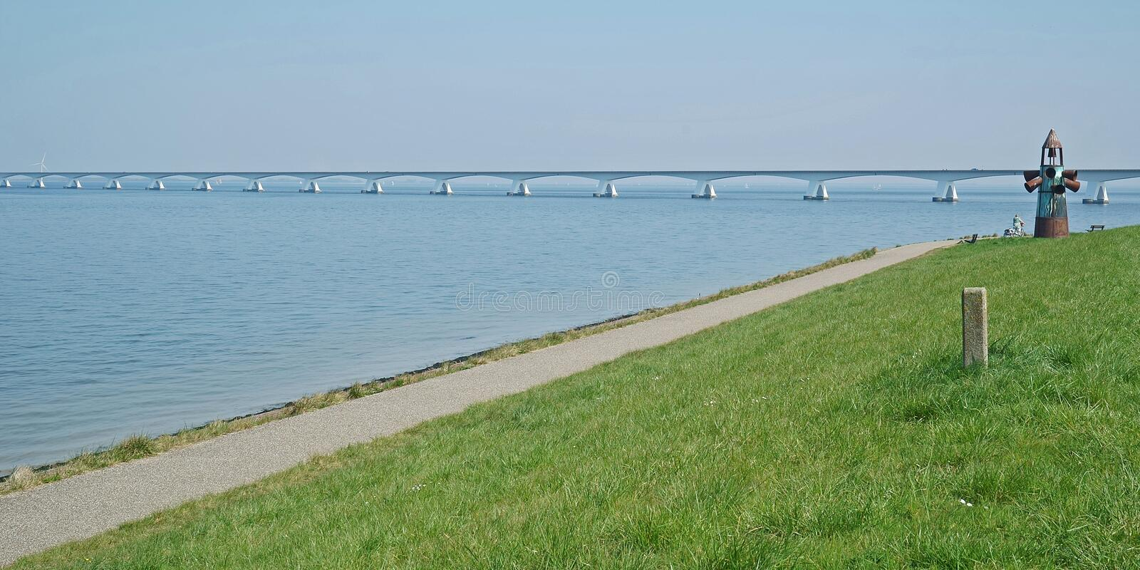Part of the Zeeland bridge over the Oosterschelde near Colijnsplaat royalty free stock images