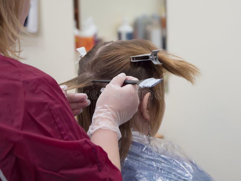 Parta en filamentos Procedimiento de la coloración del cabello imágenes de archivo libres de regalías