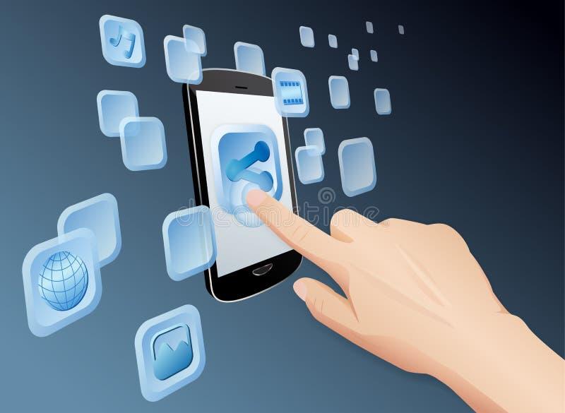 Partage des medias au Web avec le mobile d'écran tactile image libre de droits