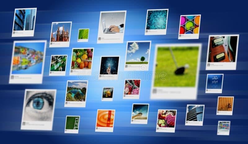 Partager de photo et concept de galerie d'Internet image libre de droits