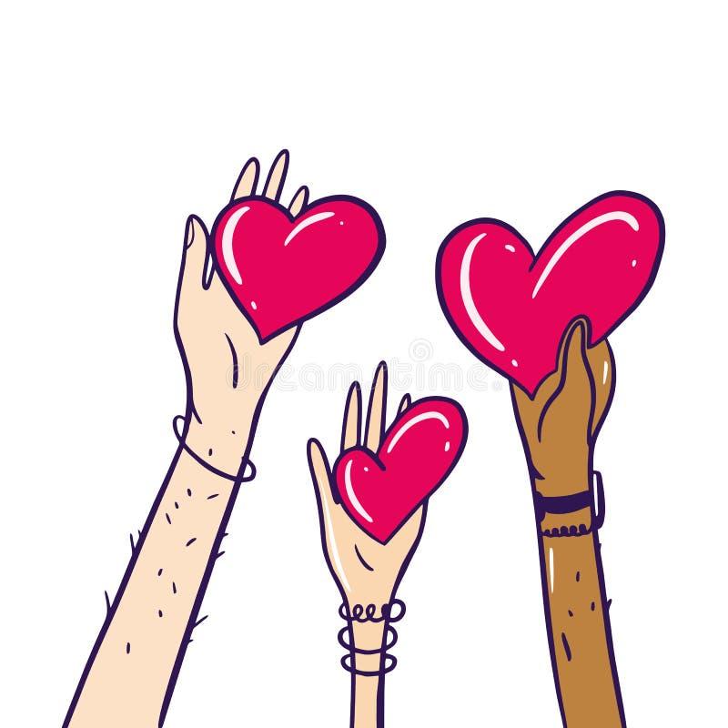 Partager l'espoir Charité et donation Donnez et partagez votre amour aux gens Mains retenant un symbole de coeur D'isolement sur  illustration de vecteur