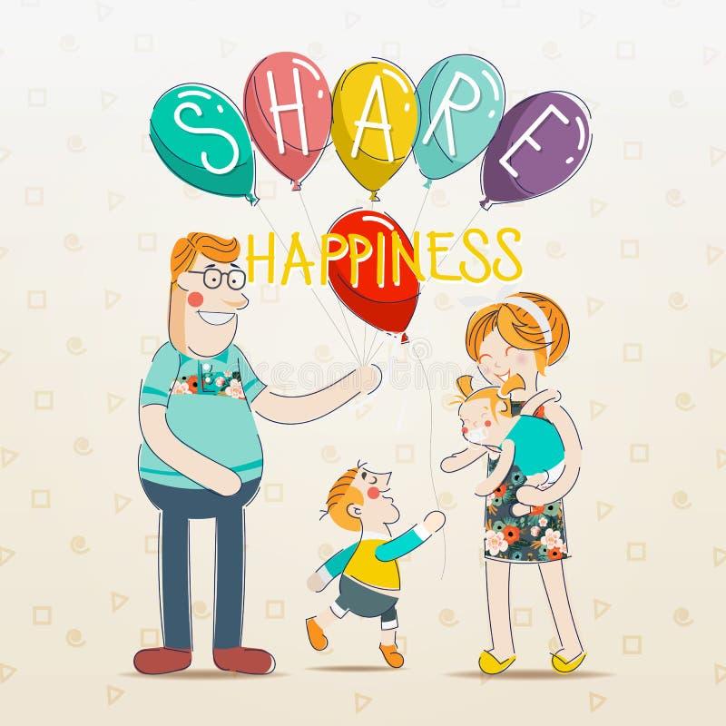 Partager le bonheur Les parents enseignent des enfants au sujet de partager illustration de vecteur