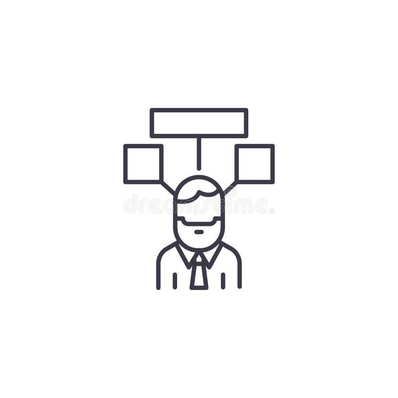 Partager le concept linéaire d'icône d'idées En partageant des idées rayez le signe de vecteur, symbole, illustration illustration libre de droits