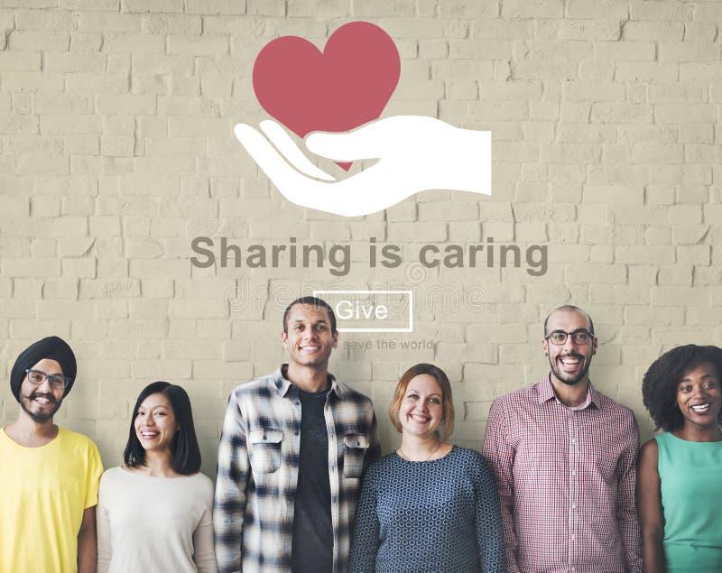 Partager s'inquiète la donation d'argent donnent le concept images stock