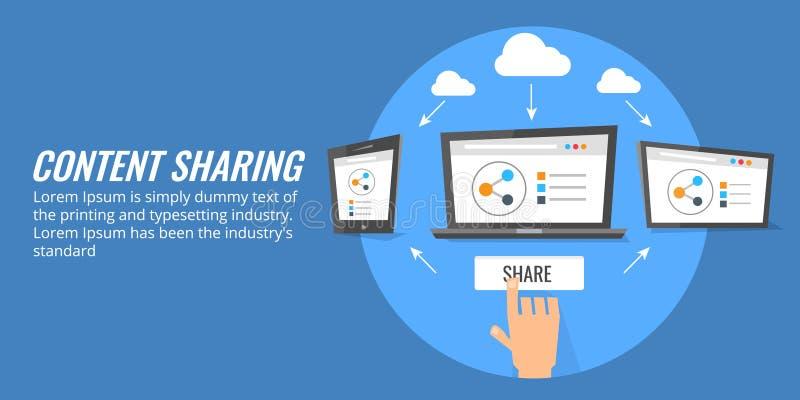 Partager satisfait par l'intermédiaire des dispositifs intelligents numériques, communication, mise en réseau sur le media social illustration stock