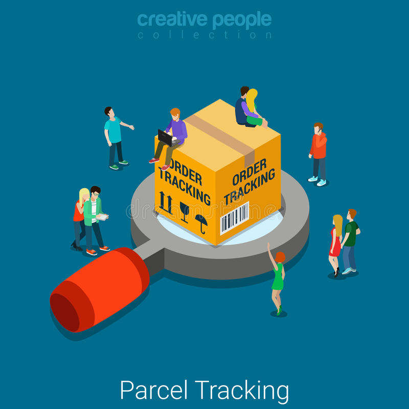 Partagez le vecteur 3d isométrique plat de cheminement de bordereau de livraison de paquet illustration stock