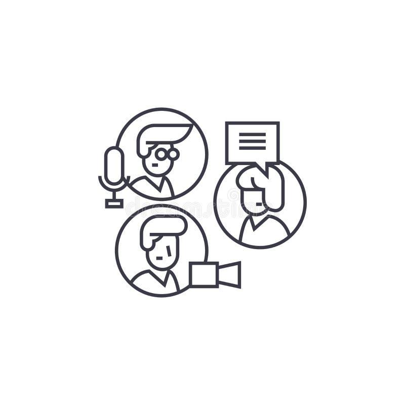 Partagez les idées, ligne icône, le signe, illustration de vecteur de causerie de groupe sur le fond, courses editable illustration stock