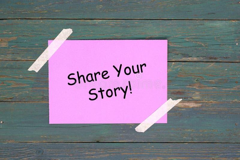 Partagez votre histoire sur du papier rose illustration de vecteur