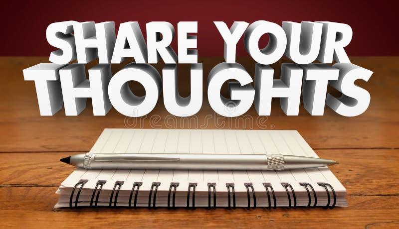 Partagez votre rétroaction d'examen de commentaires de pensées illustration stock