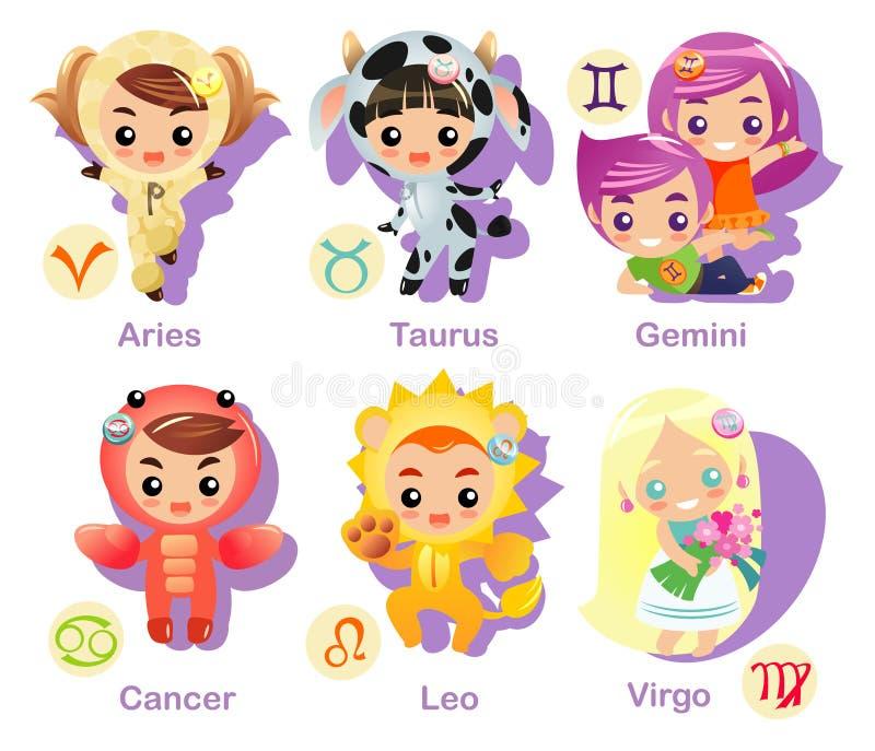 Parte ajustada 1 do ícone dos sinais do Horoscope ilustração do vetor