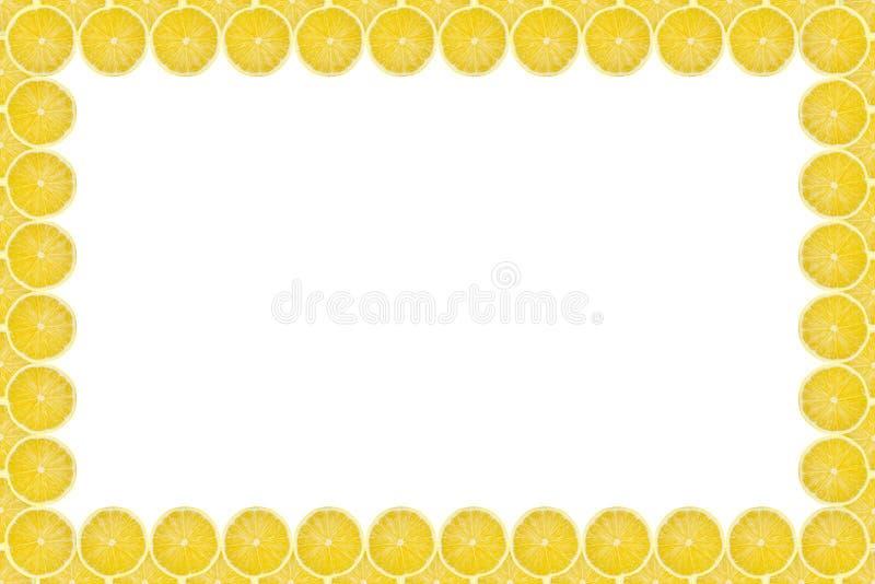 Parte amarilla jugosa del fondo del modelo de la fruta del limón, endecha plana con el espacio de la copia, marco y frontera stock de ilustración