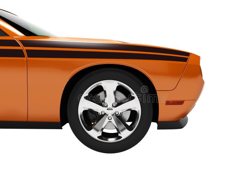 Parte anteriore arancio 3d dell'automobile sportiva di concetto moderno non rendere su fondo bianco ombra royalty illustrazione gratis