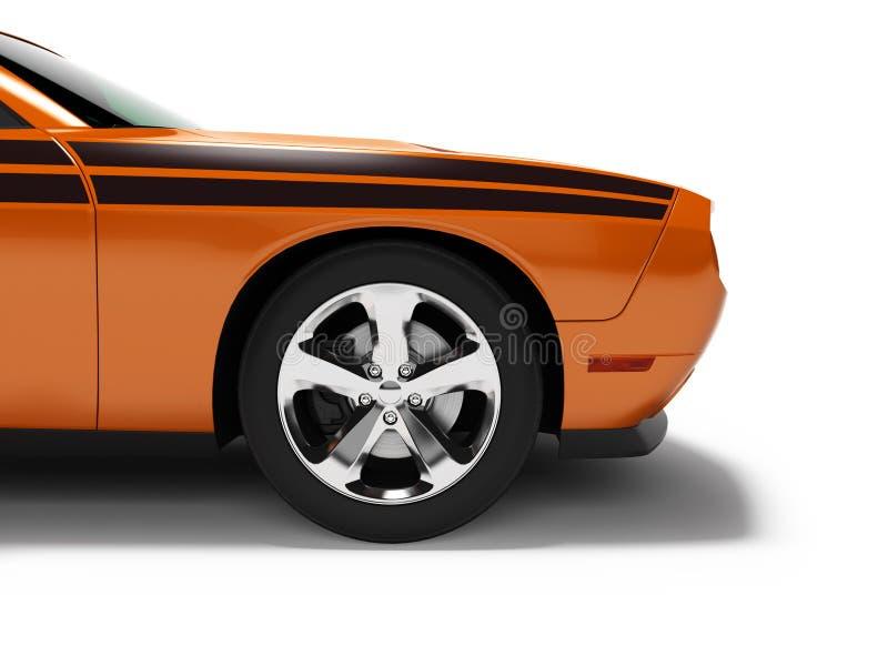 Parte anteriore arancio 3d dell'automobile sportiva di concetto moderno rendere su fondo bianco con ombra illustrazione vettoriale