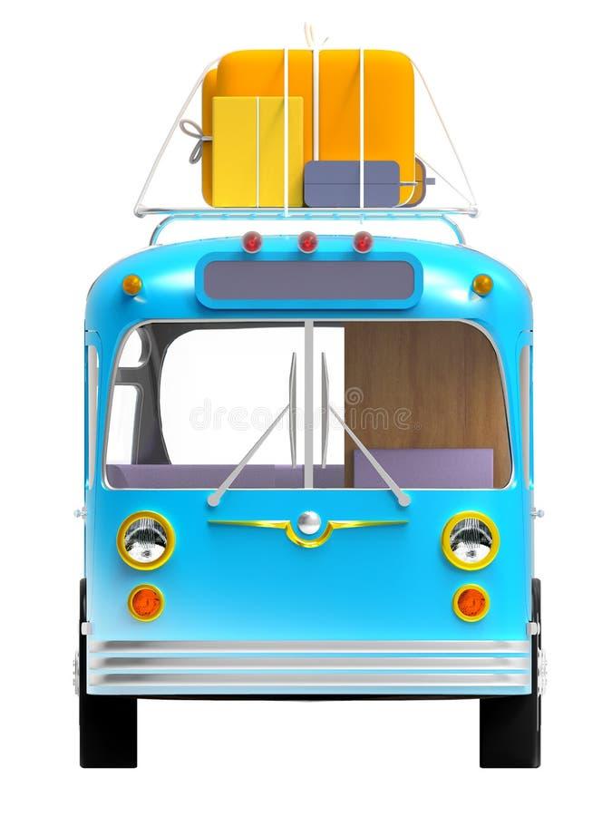 Parte anteriore blu di avventura del bus illustrazione vettoriale