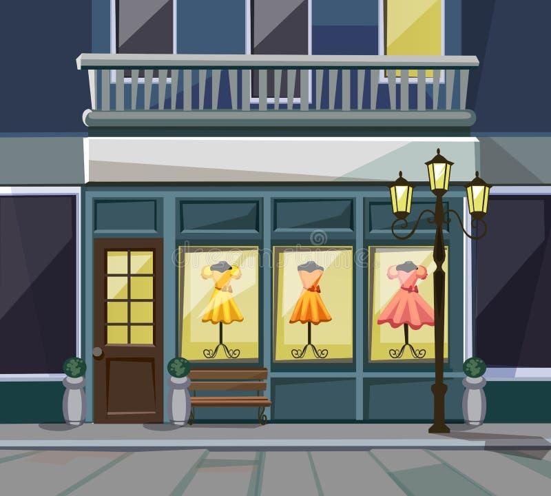 Parte anteriore con Windows, lanterne del deposito del caffè del ristorante del negozio della via illustrazione di stock