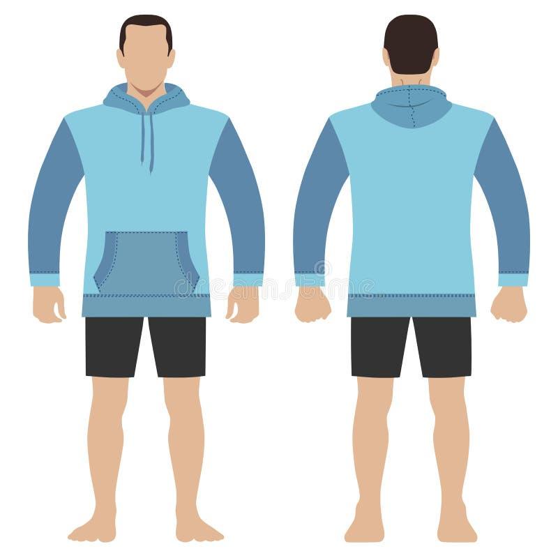 Parte anteriore del modello del corpo dell'uomo di maglia con cappuccio, viste posteriori illustrazione di stock