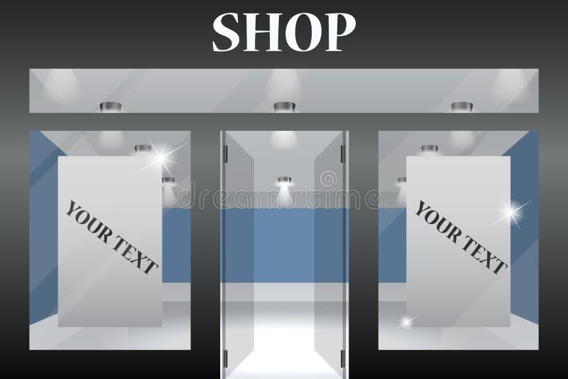 Parte anteriore del negozio Le finestre orizzontali esteriori svuotano per la vostra presentazione del prodotto del deposito o pr illustrazione di stock