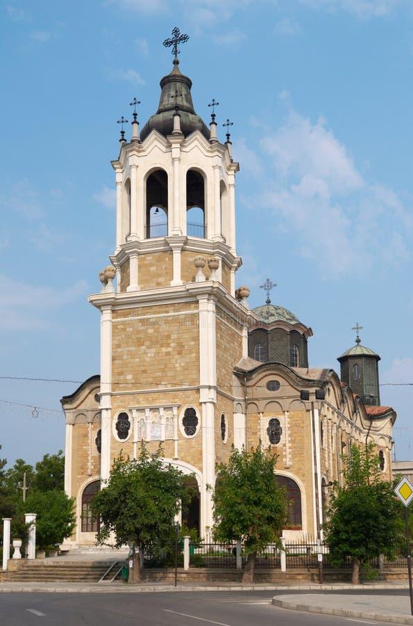 Parte anteriore della chiesa in Svishtov, Bulgaria fotografie stock