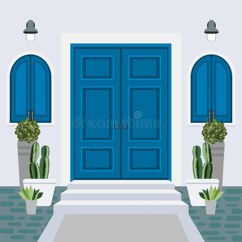 Parte anteriore della porta della Camera con il gradino della porta e la stuoia, punti, finestra, lampada, flo illustrazione vettoriale