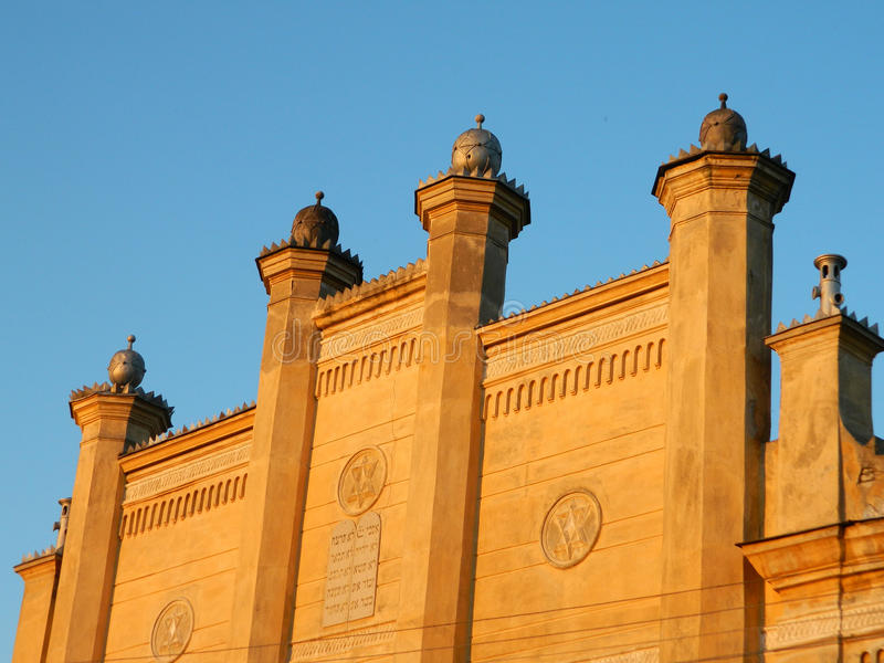 Parte anteriore della sinagoga con i dettagli fotografia stock