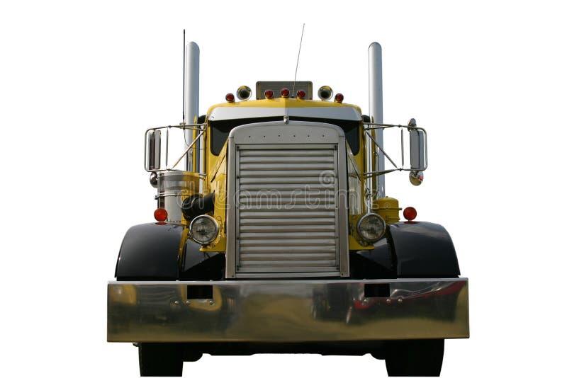 Parte anteriore di colore giallo del camion fotografie stock libere da diritti