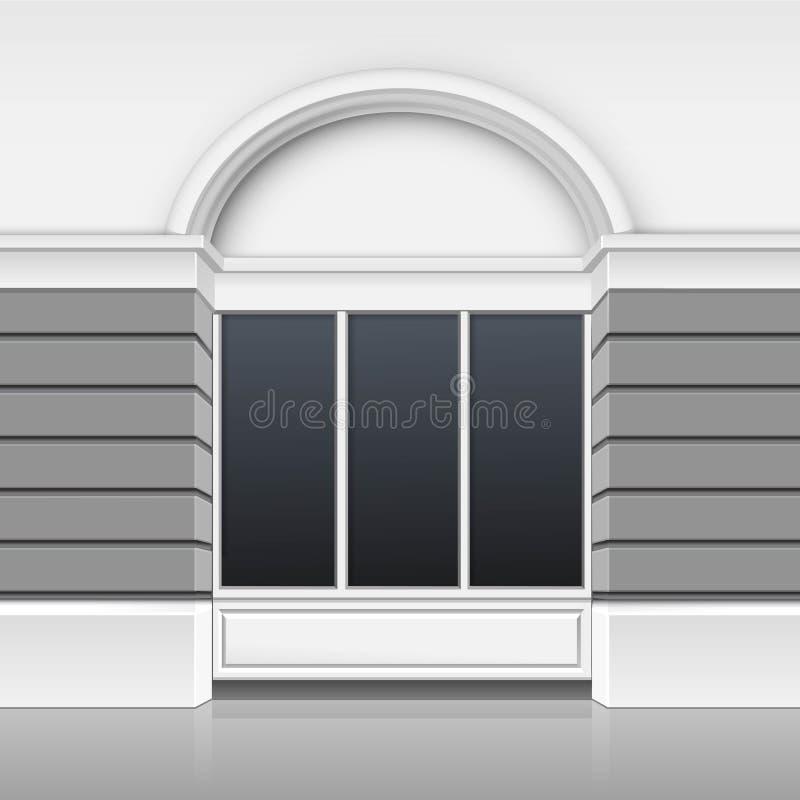 Parte anteriore di costruzione del boutique del negozio con la vetrina di vetro royalty illustrazione gratis
