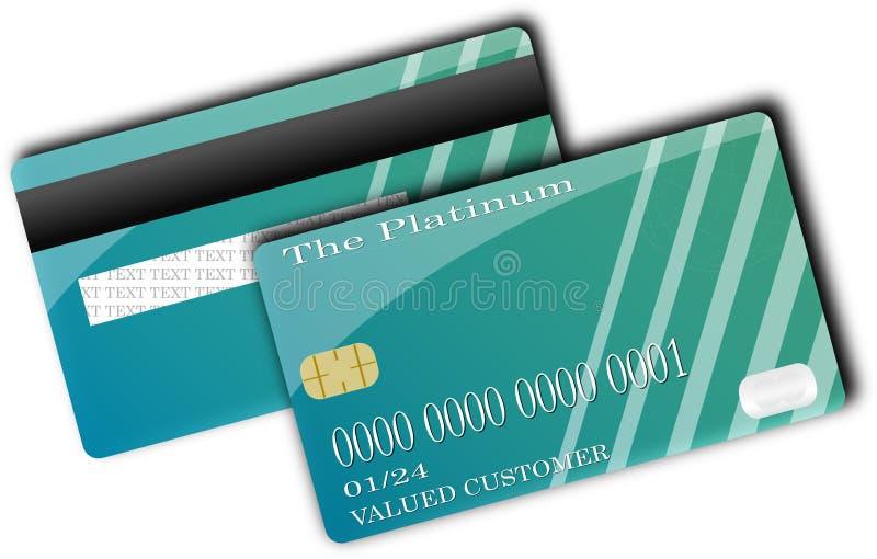 Parte anteriore di verde della carta di credito ed indietro isolato su fondo bianco con ombra Concetto dell'illustrazione di vett royalty illustrazione gratis