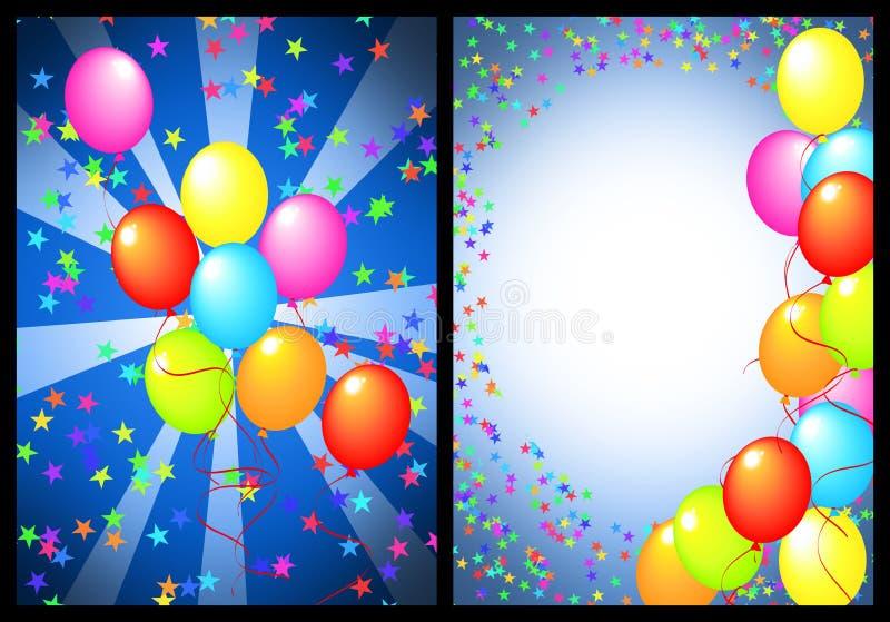 Parte anteriore e parte posteriore della cartolina d'auguri di buon compleanno illustrazione di stock