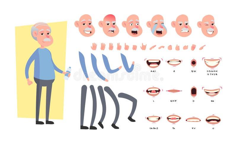 Parte anteriore, lato, carattere animato di vista posteriore Creazione anziana del carattere dell'uomo messa con le varie viste,  royalty illustrazione gratis
