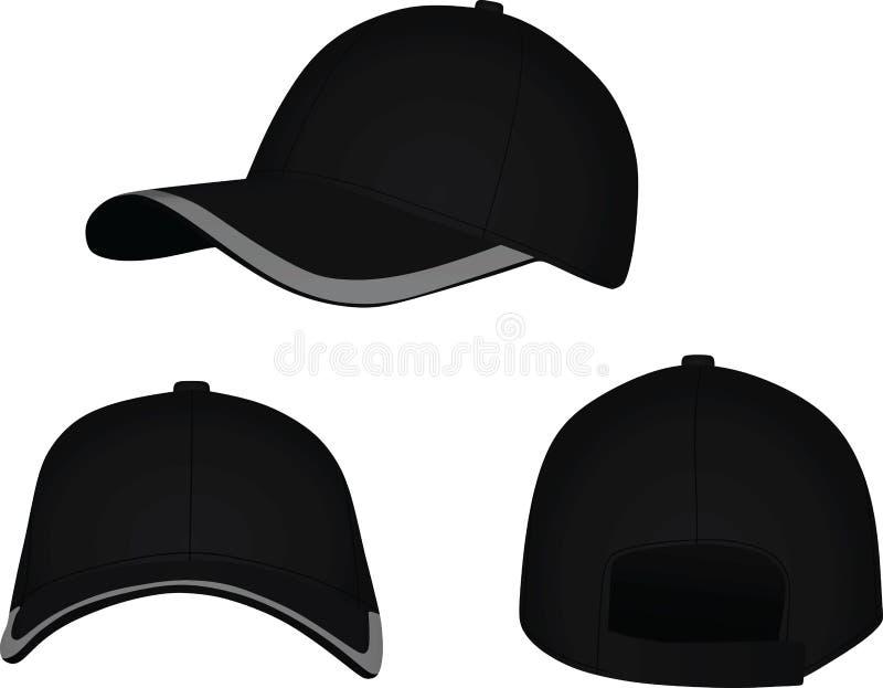 Parte anteriore nera del berretto da baseball, parte posteriore e vista laterale illustrazione vettoriale
