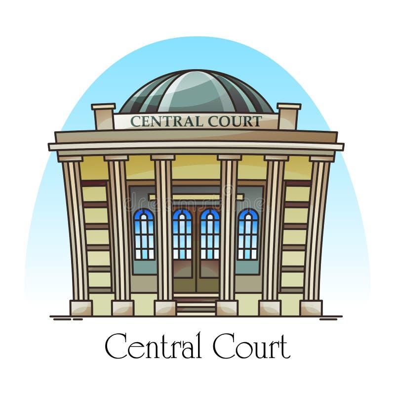 Parte anteriore o facciata del tribunale Costruzione centrale della corte royalty illustrazione gratis