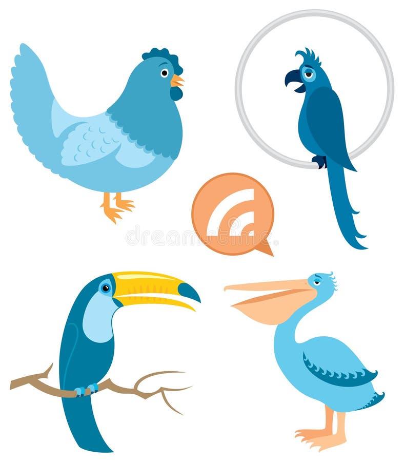 Parte azul 1 dos pássaros ilustração do vetor