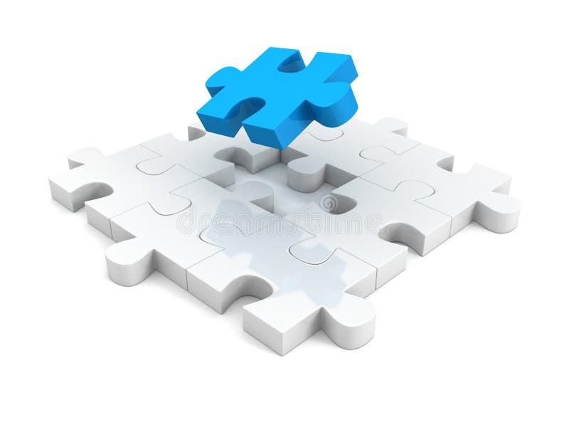 Parte azul diferente de estrutura do enigma de serra de vaivém ilustração do vetor