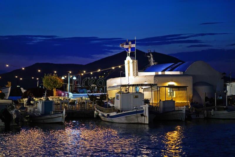 Parte bonita do porto característico de Naoussa em Paros fotos de stock royalty free