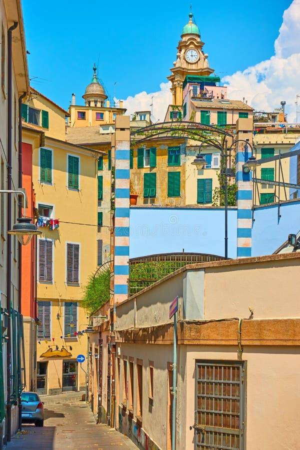 Parte central da cidade de Genoa fotos de stock