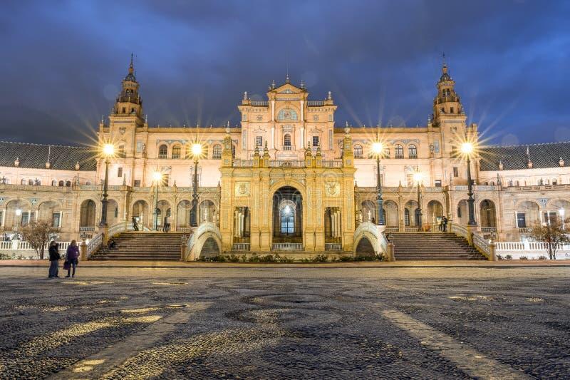Parte central da construção no quadrado espanhol, Sevilha, Espanha imagem de stock royalty free