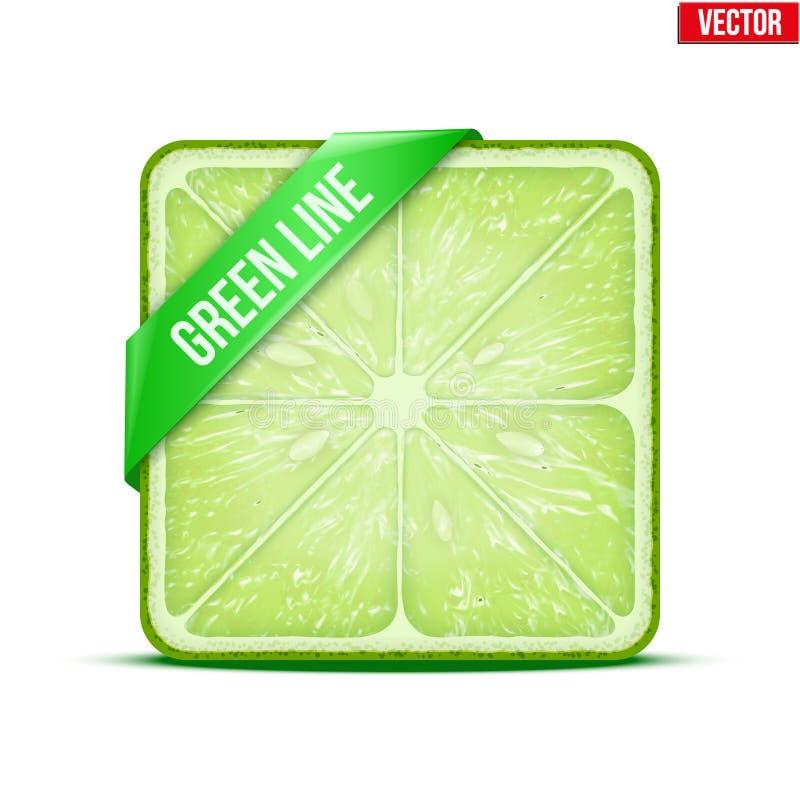 Parte cuadrada de la línea de verde lima Vector ilustración del vector