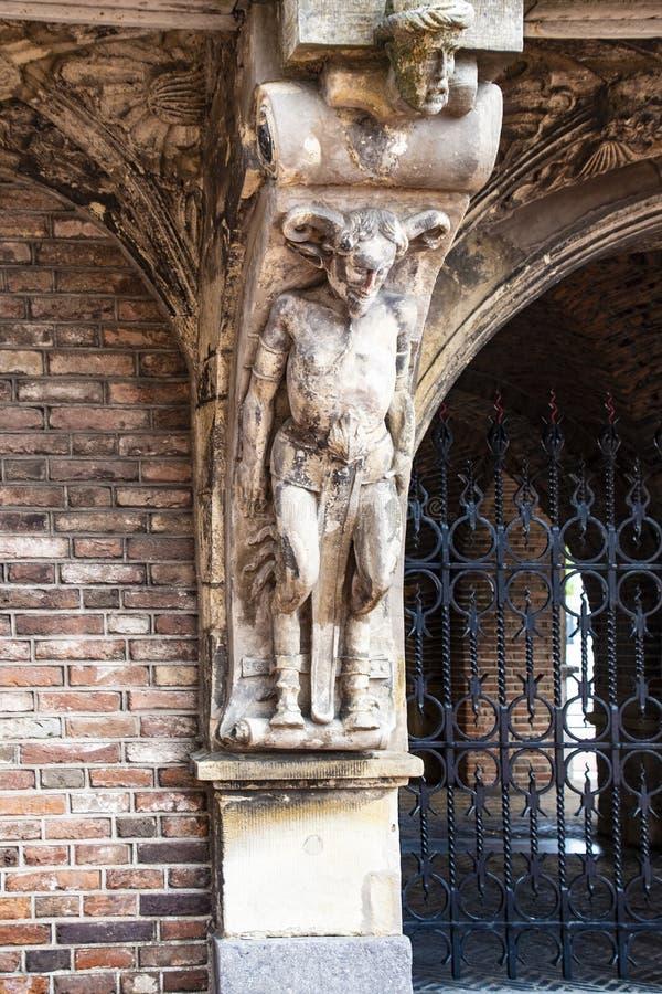 Parte da casa dos diabos de Duivelshuis - um monumento bonito e importante de Arnhem/Países Baixos Suas origens encontram-se desd fotos de stock