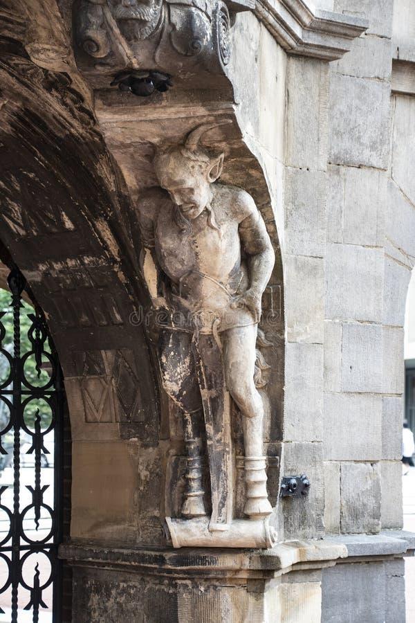 Parte da casa dos diabos de Duivelshuis - um monumento bonito e importante de Arnhem/Países Baixos Suas origens encontram-se desd imagem de stock