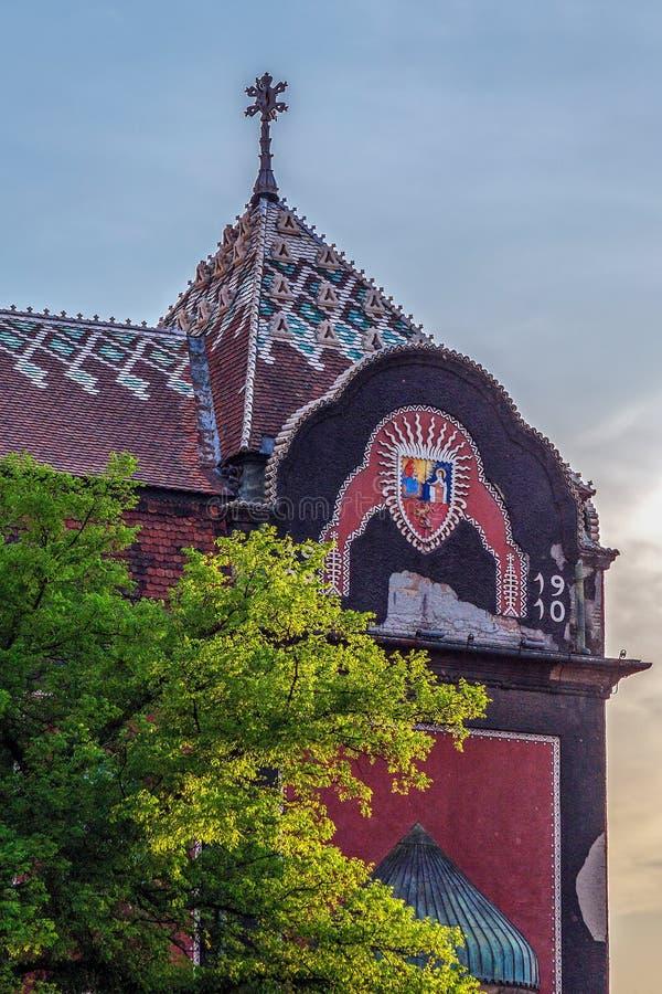 Parte da construção histórica da câmara municipal em Subotica, Sérvia imagem de stock