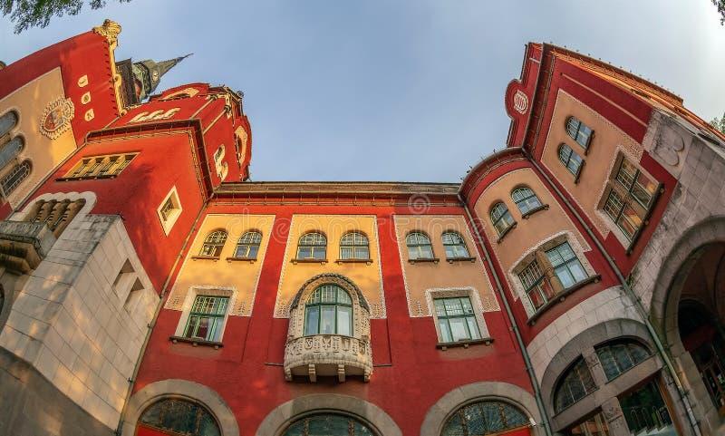 Parte da construção histórica da câmara municipal em Subotica, Sérvia fotos de stock royalty free