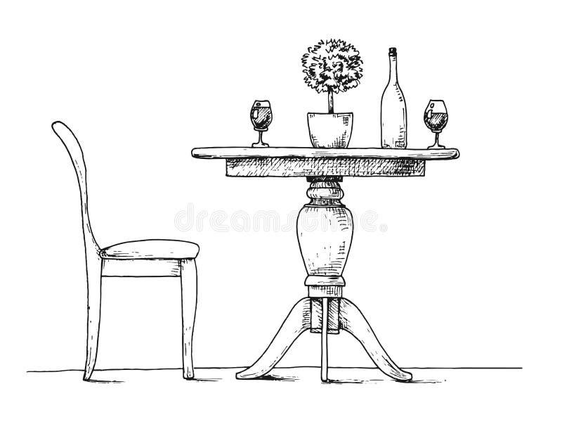 Parte da sala de jantar Mesa redonda e cadeiras No vaso da tabela das flores Esboço desenhado mão ilustração do vetor